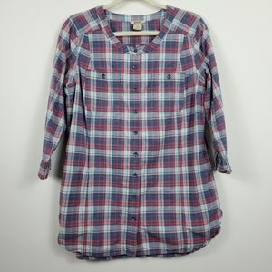 Duluth Trading Plaid Scoop Neck Button Up Tunic